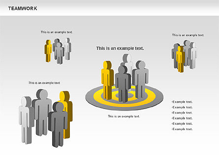 Teamwork with Targets Diagram, Slide 8, 00725, Process Diagrams — PoweredTemplate.com