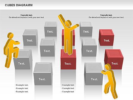 Cubes Diagram, Slide 10, 00742, Shapes — PoweredTemplate.com