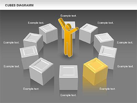 Cubes Diagram, Slide 13, 00742, Shapes — PoweredTemplate.com