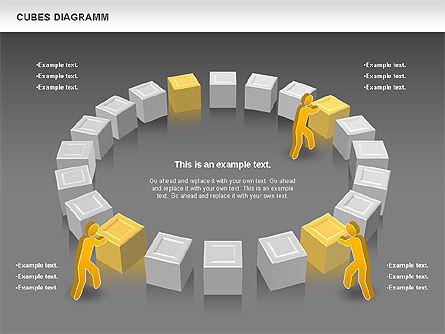 Cubes Diagram, Slide 14, 00742, Shapes — PoweredTemplate.com