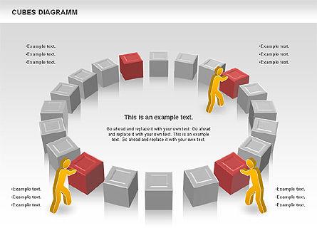 Cubes Diagram, Slide 4, 00742, Shapes — PoweredTemplate.com