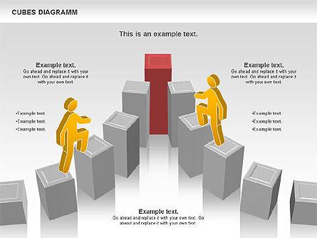 Cubes Diagram, Slide 9, 00742, Shapes — PoweredTemplate.com