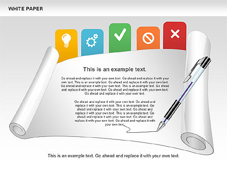 White Paper Shapes with Colorful Marks, 00765, Shapes — PoweredTemplate.com