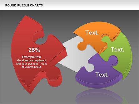 Round Puzzles Chart, Slide 19, 00777, Puzzle Diagrams — PoweredTemplate.com