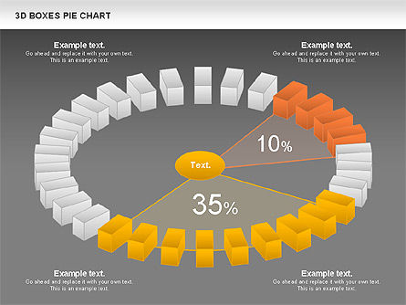 3D Boxes Pie Chart, Slide 12, 00855, Pie Charts — PoweredTemplate.com