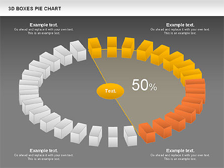 3D Boxes Pie Chart, Slide 15, 00855, Pie Charts — PoweredTemplate.com