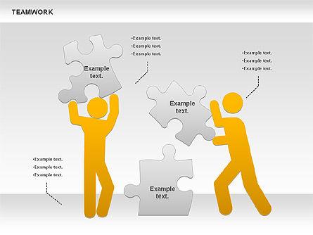 Teamwork with Puzzles Diagram, Slide 2, 00862, Puzzle Diagrams — PoweredTemplate.com