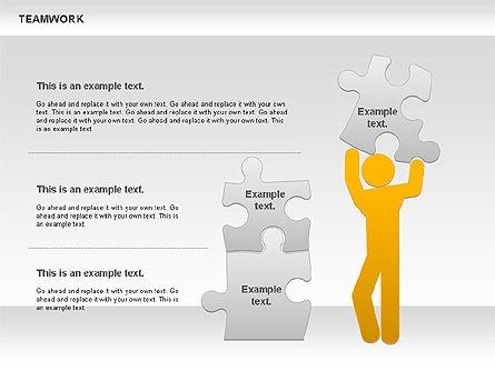 Teamwork with Puzzles Diagram, Slide 4, 00862, Puzzle Diagrams — PoweredTemplate.com