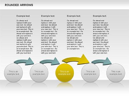 Rounded Arrows Shapes, Slide 9, 00881, Business Models — PoweredTemplate.com