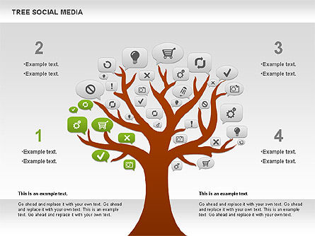 social media tree diagram for powerpoint presentations download now