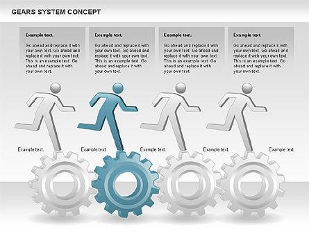 Gears System Concept Diagram, Slide 10, 00940, Stage Diagrams — PoweredTemplate.com