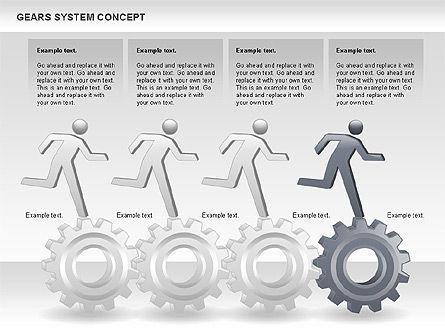 Gears System Concept Diagram, Slide 12, 00940, Stage Diagrams — PoweredTemplate.com