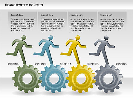Gears System Concept Diagram, Slide 13, 00940, Stage Diagrams — PoweredTemplate.com