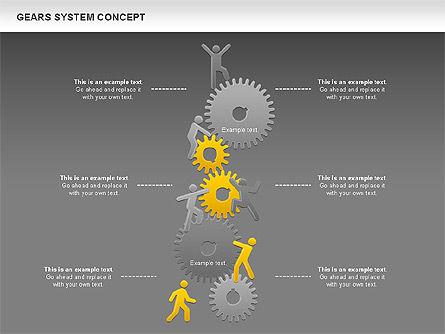 Gears System Concept Diagram, Slide 16, 00940, Stage Diagrams — PoweredTemplate.com