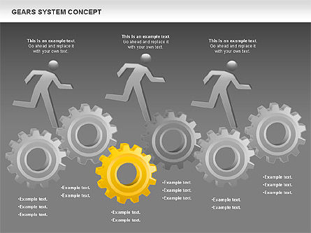 Gears System Concept Diagram, Slide 17, 00940, Stage Diagrams — PoweredTemplate.com