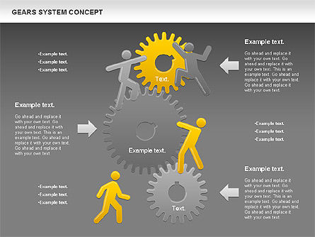 Gears System Concept Diagram, Slide 18, 00940, Stage Diagrams — PoweredTemplate.com