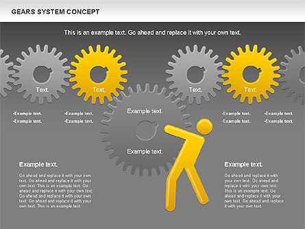 Gears System Concept Diagram, Slide 19, 00940, Stage Diagrams — PoweredTemplate.com