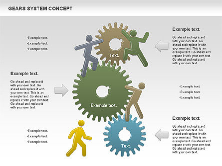 Gears System Concept Diagram, Slide 4, 00940, Stage Diagrams — PoweredTemplate.com