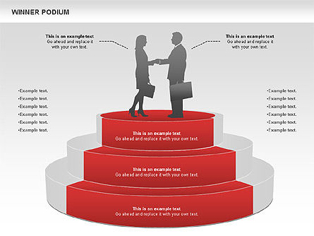 Winner Podium Diagram, Slide 2, 00981, Silhouettes — PoweredTemplate.com