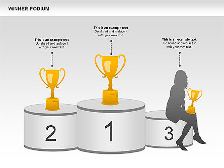 Winner Podium Diagram, Slide 3, 00981, Silhouettes — PoweredTemplate.com