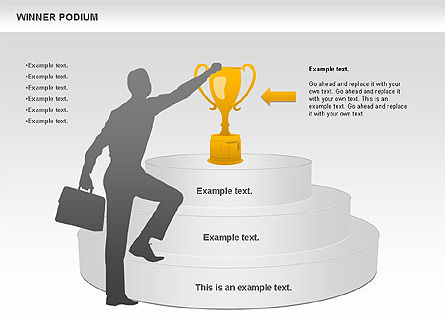 Winner Podium Diagram, Slide 4, 00981, Silhouettes — PoweredTemplate.com