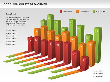 3D Column Data Driven Charts, Slide 2, 00987, Business Models — PoweredTemplate.com