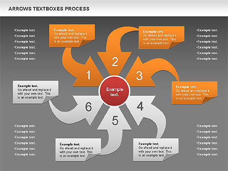 Arrows Textboxes Process Diagram, Slide 13, 00993, Process Diagrams — PoweredTemplate.com