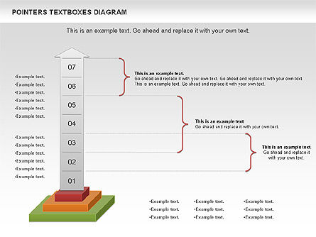 Pointers Textboxes Diagram, Slide 11, 00994, Text Boxes — PoweredTemplate.com