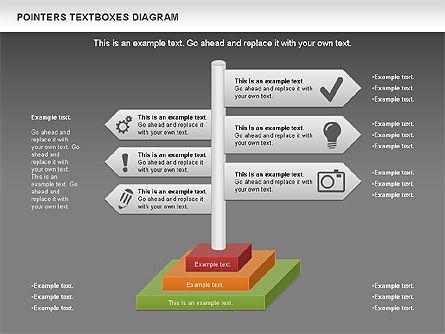 Pointers Textboxes Diagram, Slide 12, 00994, Text Boxes — PoweredTemplate.com