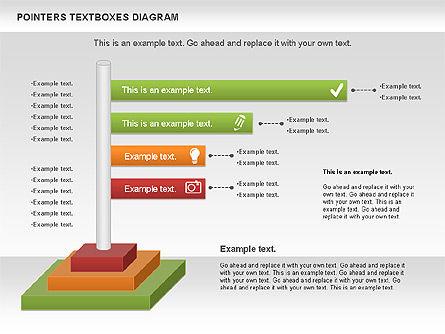 Pointers Textboxes Diagram, Slide 5, 00994, Text Boxes — PoweredTemplate.com
