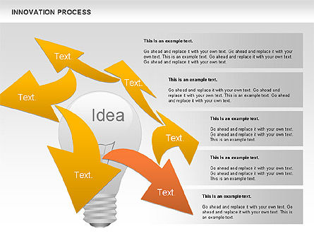Innovation Process with Lamp Diagram, Slide 2, 01027, Process Diagrams — PoweredTemplate.com