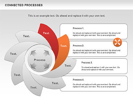 Connected Processes Shapes, Slide 4, 01033, Shapes — PoweredTemplate.com