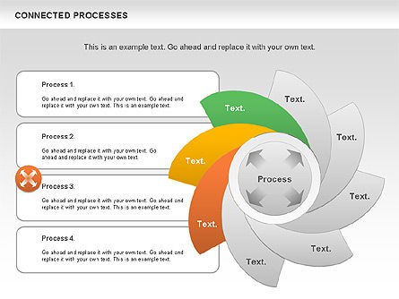 Connected Processes Shapes, Slide 9, 01033, Shapes — PoweredTemplate.com