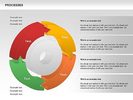 Process Donut Chart, 01046, Process Diagrams — PoweredTemplate.com