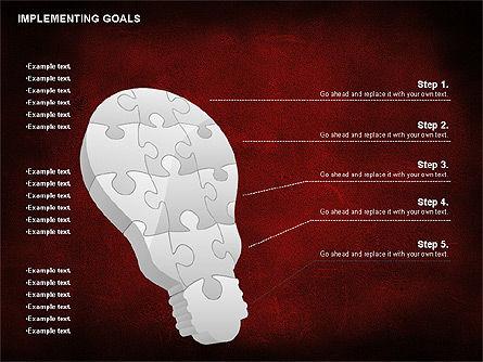 Implementing Goals Diagram, Slide 2, 01053, Puzzle Diagrams — PoweredTemplate.com