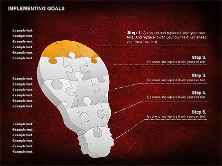 Implementing Goals Diagram, Slide 3, 01053, Puzzle Diagrams — PoweredTemplate.com