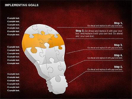 Implementing Goals Diagram, Slide 4, 01053, Puzzle Diagrams — PoweredTemplate.com