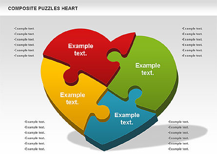 Puzzle Heart, 01068, Puzzle Diagrams — PoweredTemplate.com
