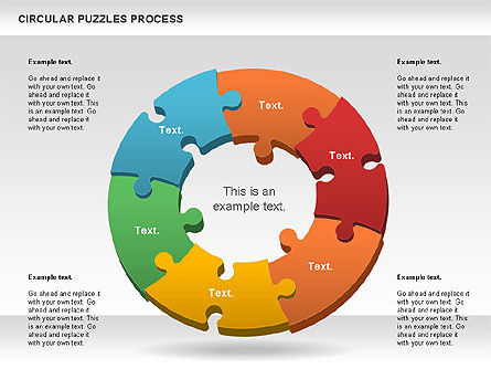 Donut Puzzle Chart For Powerpoint Presentations, Download Now