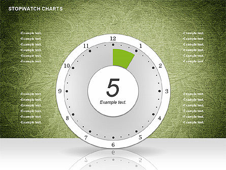 Stopwatch on Green Chart, 01084, Pie Charts — PoweredTemplate.com