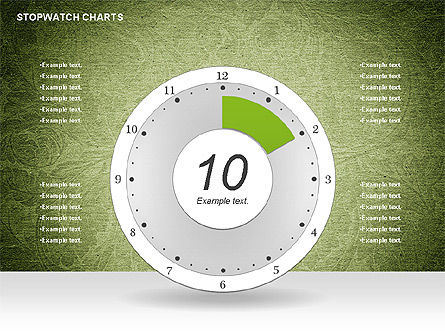 Stopwatch on Green Chart, Slide 2, 01084, Pie Charts — PoweredTemplate.com