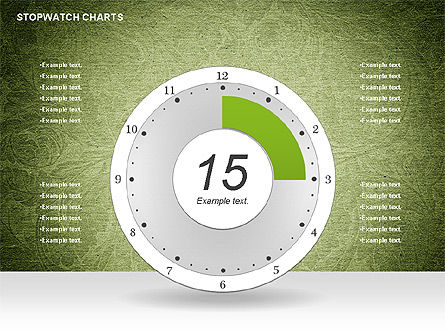 Stopwatch on Green Chart, Slide 3, 01084, Pie Charts — PoweredTemplate.com