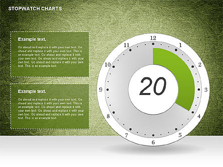 Stopwatch on Green Chart, Slide 4, 01084, Pie Charts — PoweredTemplate.com