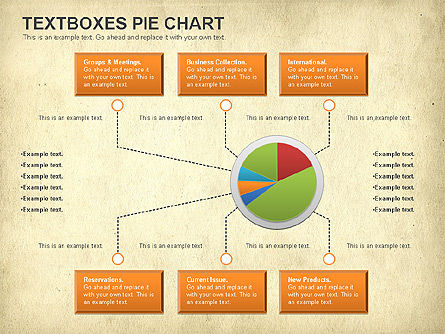 Textboxes Pie Chart, Slide 12, 01091, Pie Charts — PoweredTemplate.com