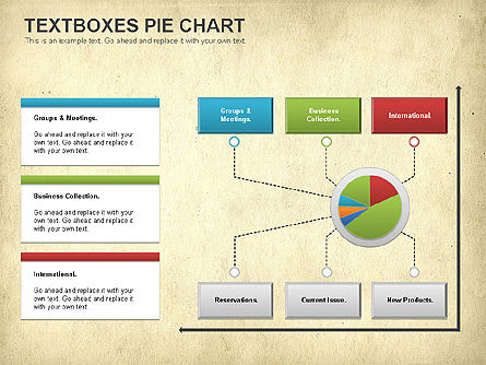 Textboxes Pie Chart, Slide 13, 01091, Pie Charts — PoweredTemplate.com
