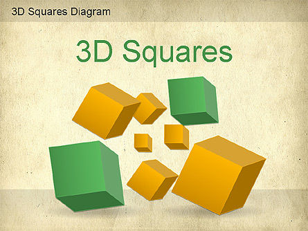 3D Squares Diagram, 01189, Shapes — PoweredTemplate.com