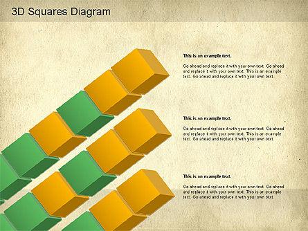 3D Squares Diagram, Slide 10, 01189, Shapes — PoweredTemplate.com
