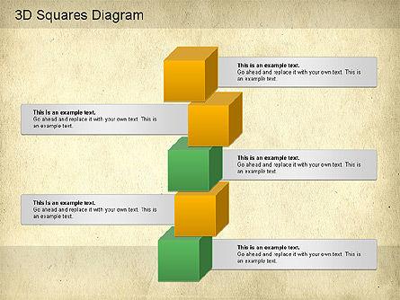 3D Squares Diagram, Slide 11, 01189, Shapes — PoweredTemplate.com