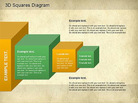 3D Squares Diagram, Slide 12, 01189, Shapes — PoweredTemplate.com
