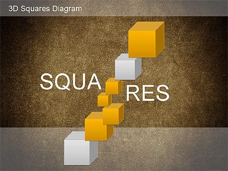 3D Squares Diagram, Slide 15, 01189, Shapes — PoweredTemplate.com